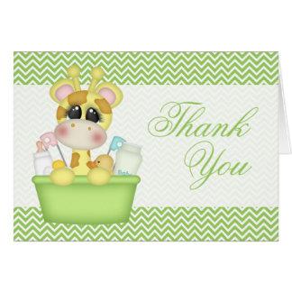 Obrigado bonito do girafa de Bathtime você Cartão De Nota