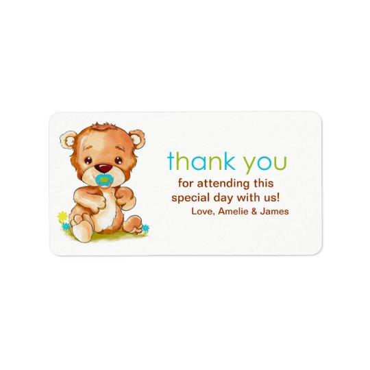 Obrigado bonito do menino do urso do bebê da etiqueta de endereço