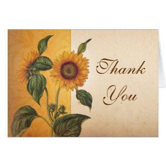 obrigado bonito do vintage do girassol você cartõe cartão comemorativo