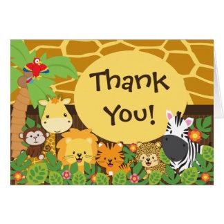 Obrigado bonito dos animais do safari de selva cartão de nota