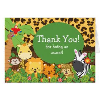 Obrigado bonito dos animais do safari você cartão