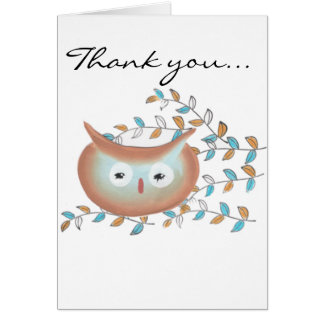 Obrigado bonito você imagem da coruja em Brown & Cartão Comemorativo
