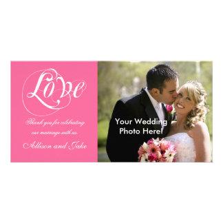Obrigado branco cor-de-rosa do casamento você mode cartoes com foto personalizados