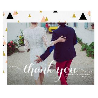 Obrigado branco do casamento da foto do roteiro da convite 12.7 x 17.78cm