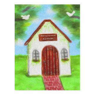 Obrigado branco minúsculo do casamento da casa de cartão postal