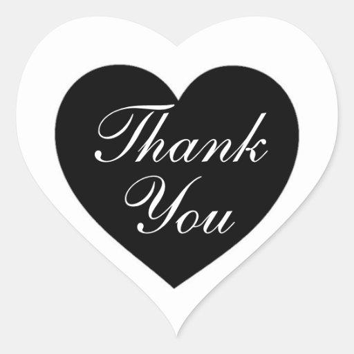 Obrigado branco preto simples você etiquetas do adesivos em forma de corações