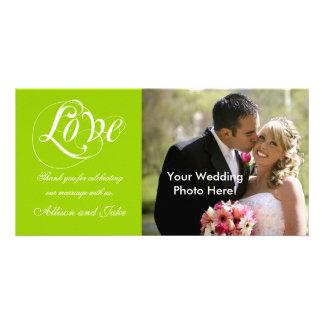 Obrigado branco verde do casamento você modelo do  cartao com fotos