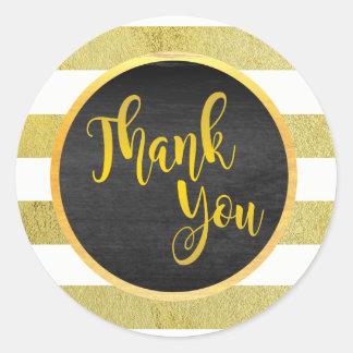 Obrigado brilho listrado ouro adesivo redondo