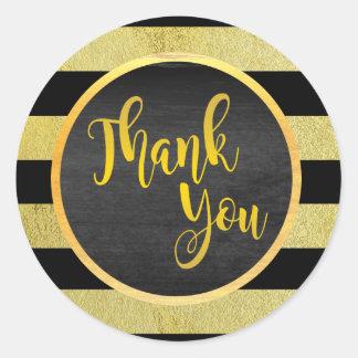 Obrigado brilho listrado preto do ouro adesivo redondo