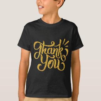 Obrigado brilhos sparkling do ouro da tipografia camiseta