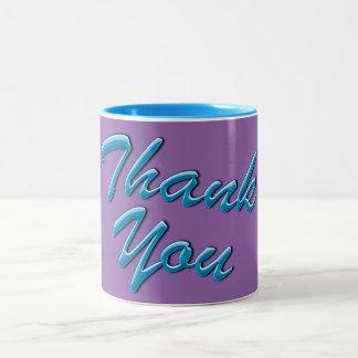 """""""Obrigado"""" caneca do presente em azul e em roxo"""