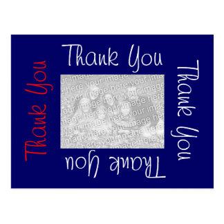 Obrigado cartão branco e azul vermelhos