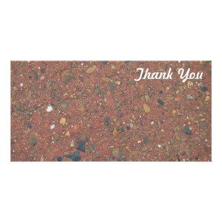 Obrigado cartão com fotos - areia e seixos