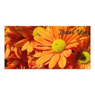 Obrigado cartão com fotos - flores alaranjadas