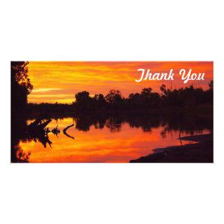 Obrigado cartão com fotos - nascer do sol do rio