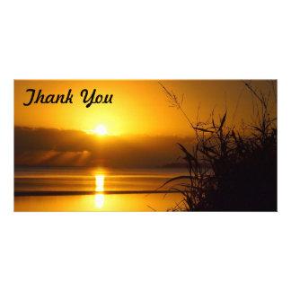 Obrigado cartão com fotos - nascer do sol litoral