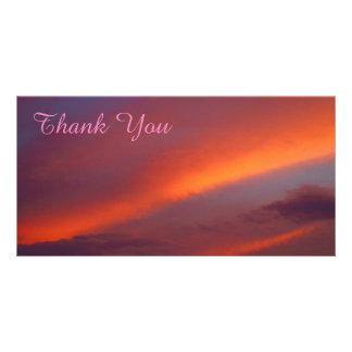 Obrigado cartão com fotos - por do sol cor-de-rosa