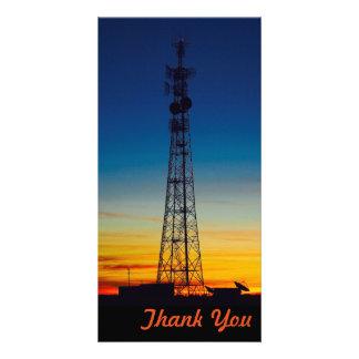 Obrigado cartão com fotos - por do sol da silhueta