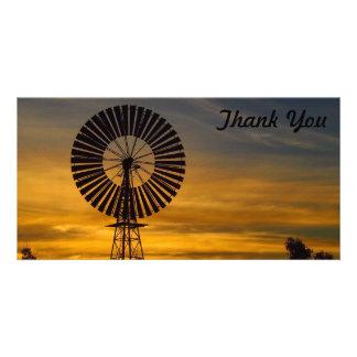 Obrigado cartão com fotos - por do sol do moinho
