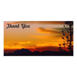 Obrigado cartão com fotos - por do sol do veículo