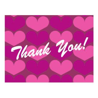 Obrigado cartão com impressão do coração cartão postal