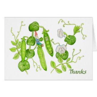 Obrigado cartão da ervilha de açúcar