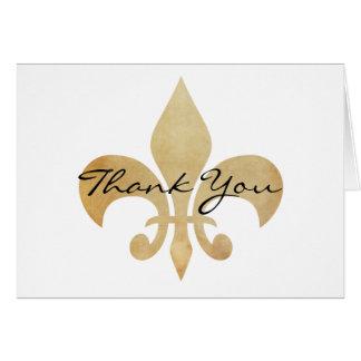 Obrigado cartão da flor de lis