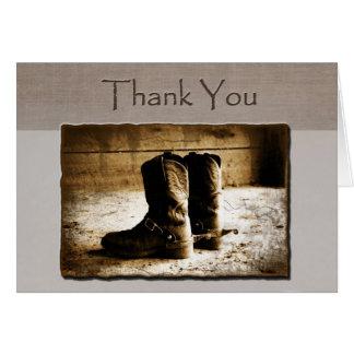 Obrigado cartão de nota de botas rústicas no