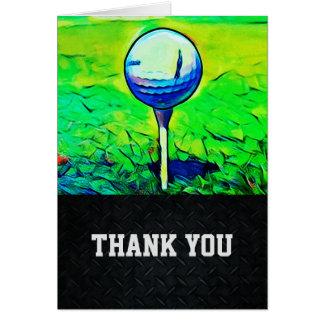 Obrigado cartão de nota Golfing dos homens