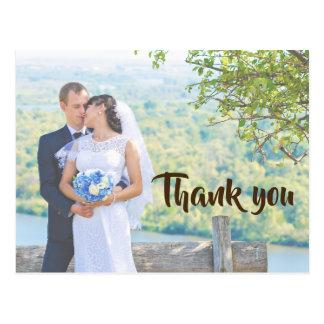 Obrigado cartão elegante da foto do casamento