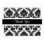 Obrigado cartão floral do damasco preto e branco cartões postais