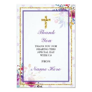 Obrigado cartão floral transversal santamente