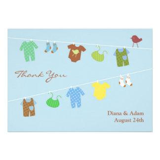 Obrigado cartão liso do chá de fraldas convites personalizado