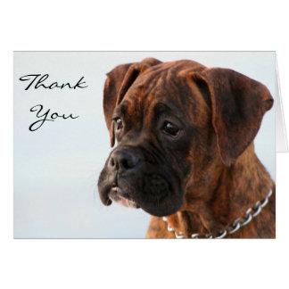 Obrigado cartão rajado do filhote de cachorro do