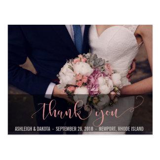 Obrigado cartões de fotos cor-de-rosa bonitos da