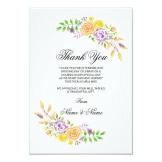 Obrigado cartões florais da festa de casamento das