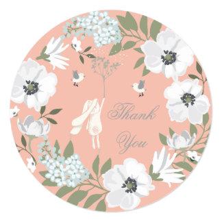 Obrigado chá de fraldas floral da menina da convite quadrado 13.35 x 13.35cm