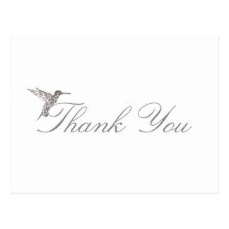 Obrigado cintilante do colibri você cartão branco cartão postal