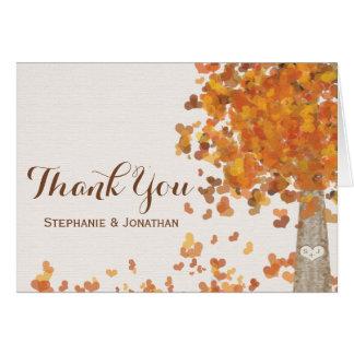Obrigado cinzelado do casamento outono das cartão de nota