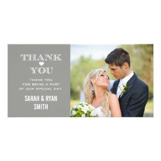 Obrigado cinzento da foto do casamento do coração cartão com foto
