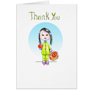Obrigado com boa sorte - cabelo longo cartão de nota