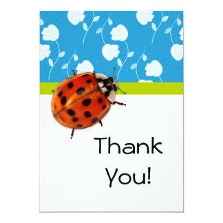 Obrigado com o joaninha na moda em floral azul convite 12.7 x 17.78cm