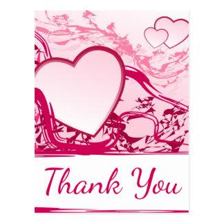 Obrigado cor-de-rosa abstrato você corações - cartão postal