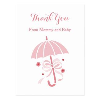 Obrigado cor-de-rosa bonito do guarda-chuva e do cartão postal