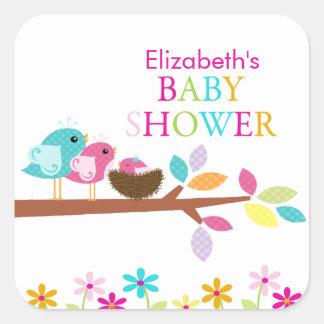 Obrigado cor-de-rosa bonito do ninho do pássaro adesivo quadrado