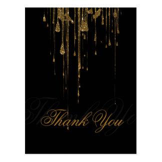 Obrigado cor-de-rosa cintilante do preto do brilho cartão postal