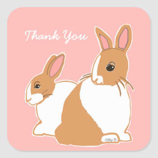 Obrigado cor-de-rosa coral dos coelhos holandeses adesivo quadrado