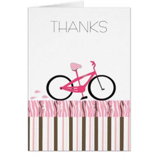 Obrigado cor-de-rosa da bicicleta você cartão de nota