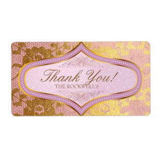 Obrigado cor-de-rosa da etiqueta do casamento do