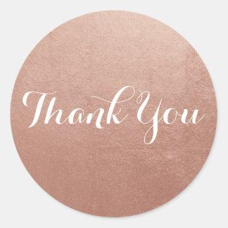 Obrigado cor-de-rosa da foto da folha de ouro você adesivo redondo